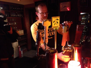 Warren pouring a pint at the Casbah!